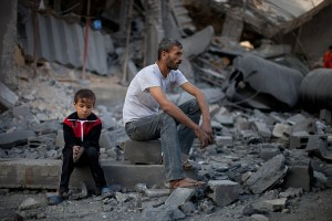 Palestinsk far og sønn